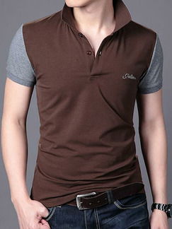 Brown and Grey Plus Size Slim Lapel Contrast Linking Buttons Men Tshirt for Casual Party Office