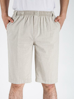 Beige Plus Size Loose Adjustable Waist Pockets Men Shorts for Casual