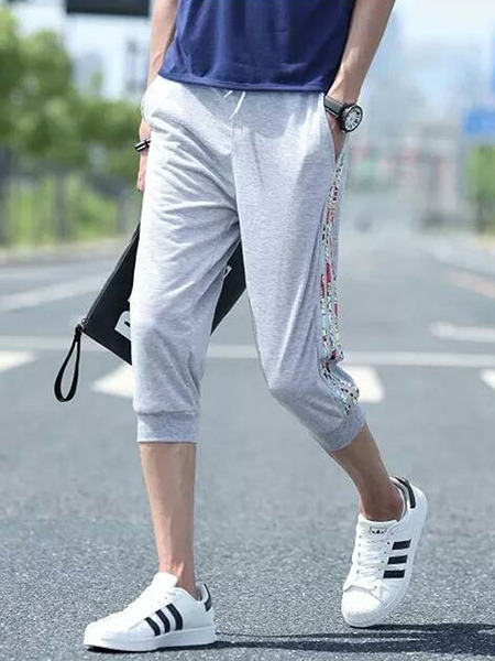 Grey Halen Printed Stripe Side Adjustable Waist Band Men Pants for Casual Sports