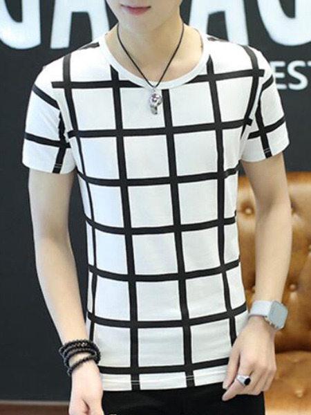 White Slim Grid T-Shirt Round Neck Plus Size Men Shirt for Casual Party