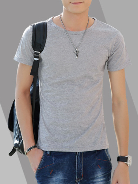 Light Gray Slim Round Neck T-Shirt Plus Size Men Shirt for Casual