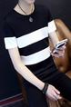 Black and White Slim Contrast Stripe T-Shirt Men Shirt for Casual Party