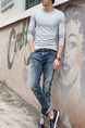 Light Gray Slim Round Neck T-Shirt Long Sleeve Plus Size Men Shirt for Casual