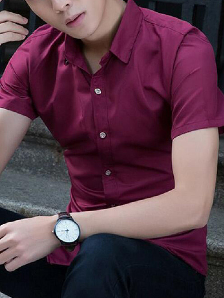 Wine Red Slim Lapel Shirt Plus Size Men Shirt for Casual