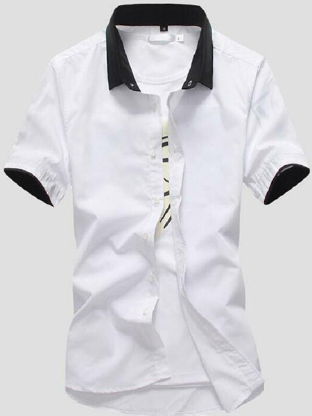 White Slim Lapel Shirt  Men Shirt for Casual Party