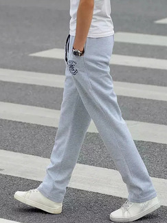 Light Gray Loose Band Belt Plus Size Men Pants for Casual Sporty