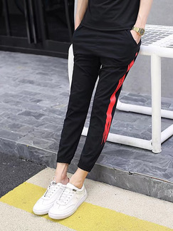 Black Slim Contrast Side Plus Size Men Pants for Casual Sporty