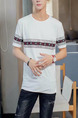 White Loose Located Printing T-Shirt Men Shirt for Casual Party