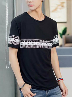 Black Loose Located Printing T-Shirt Men Shirt for Casual Party