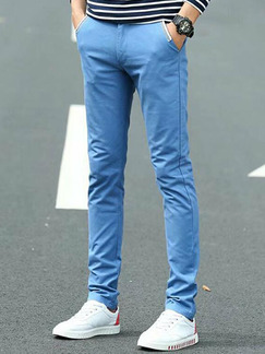 Sky Blue Slim Straight Men Pants for Casual Party Sporty