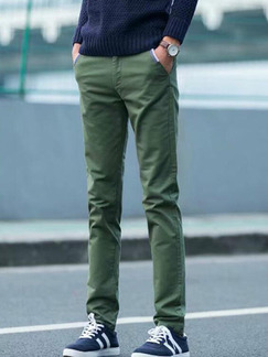 Army Green Slim Straight Men Pants for Casual Party