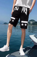 Black Loose Contrast Men Shorts for Casual Sporty