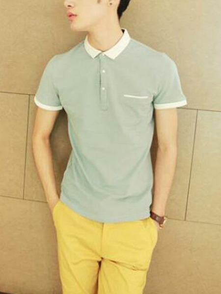 Gray and White Slim Contrast Polo T-Shirt Men Shirt for Casual