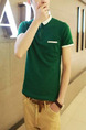 Green Slim Contrast Polo T-Shirt Men Shirt for Casual