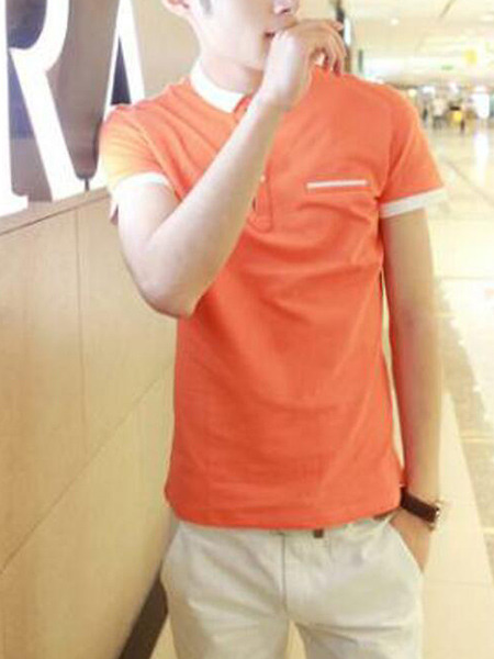 Orange Slim Contrast Polo T-Shirt Men Shirt for Casual