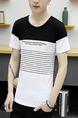 Black and White Slim Contrast T-Shirt Men Shirt for Casual Party