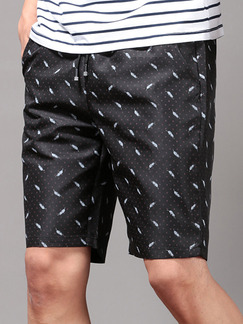 Black Loose Printed Men Shorts for Casual Sporty