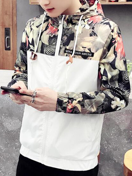 White Loose Hooded Linking Printed Long Sleeve Tropical Men Jacket for Casual