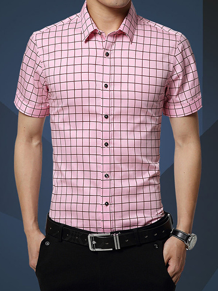 Pink Slim Contrast Grid Polo Men Shirt for Casual Office