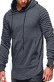 Dark Gray Loose Drawstring Long Sleeve Men Hoodie for Casual Sporty