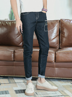 Black Slim Denim Embroidery Long Men Pants for Casual