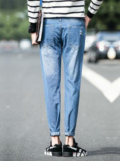 Blue Loose Denim Holes Long Men Pants for Casual Sporty