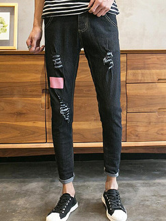 Black Slim Denim Holes Long Men Pants for Casual