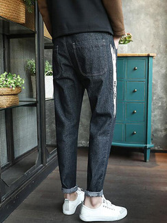 Black Loose Denim Contrast Side Long Men Pants for Casual Sporty