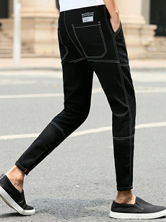 Black Slim Denim Letter Long Men Pants for Casual Sporty
