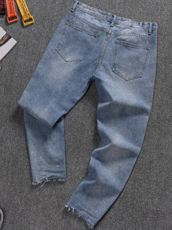 Blue and Gray Loose Denim Holes Long Men Pants for Casual