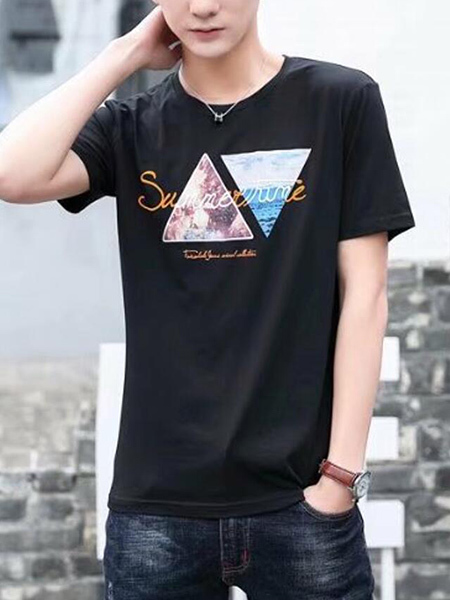 Black Slim Linking Pattern Letter Men Shirt for Casual