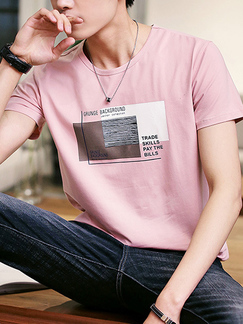 Pink Slim Linking Letter Pattern Men Shirt for Casual