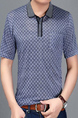 Gray and Blue Loose Lapel Grid Men Shirt for Casual Office Party