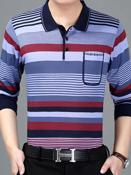 Blue and Red Loose Lapel Contrast Stripe Long Sleeve Plus Size Men Shirt for Casual Party Office