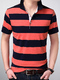 Blue and Orange Slim Lapel Contrast Stripe  Men Shirt for Casual Office Party