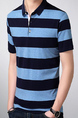 Navy Blue and Blue Slim Lapel Contrast Stripe  Men Shirt for Casual Party Office