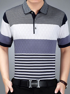 Blue and White Stripe Loose Contrast Lapel Plus Size Men Shirt for Casual Office