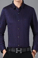 Navy Blue Slim Floral Wave Point Plus Size Long Sleeve Men Shirt for Casual Office Evening