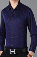 Navy Blue and Red Slim Lapel Printed Plus Size Long Sleeve Men Shirt for Casual Office Evening