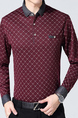 Wine Red Slim Lapel Grid Plus Size Long Sleeve Men Shirt for Casual Office Evening
