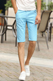 Sky Blue Slim Straight Men Shorts for Casual