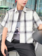 White and Gray Loose Lapel Grid Men Shirt for Casual Party