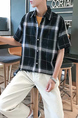 Black and Gray Loose Lapel Grid Men Shirt for Casual Party