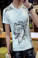 White Slim V Neck Located Printing  Men Shirt for Casual Party