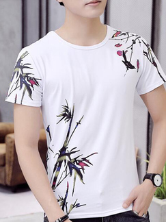 White Slim Round Neck Located Printing  Men Shirt for Casual Party