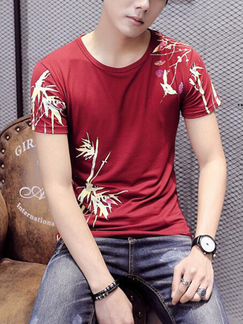 Red Slim Round Neck Located Printing  Men Shirt for Casual Party