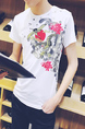 White Colorful Slim Round Neck Located Printing  Men Shirt for Casual Party