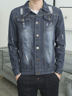 Dark Blue Loose Denim Lapel Holes Plus Size Long Sleeve Men Jacket for Casual