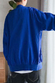 Royal Blue Loose Linking Side Stripe Long Sleeve Men Jacket for Casual Sporty