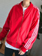 Red Loose Linking Side Stripe Long Sleeve Men Jacket for Casual Sporty